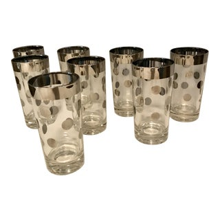 Dorothy Thorpe Silver Dot Tall Glasses - Set of 8 For Sale