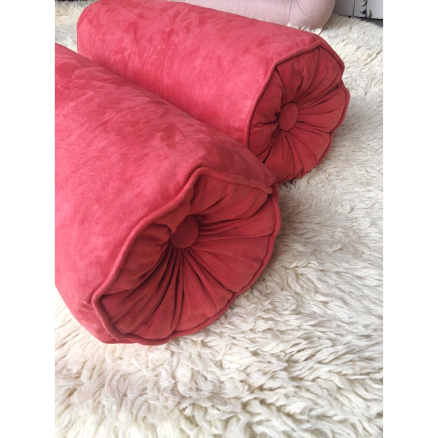 Custom Heavy Suede Bolster Pillow in Coral For Sale - Image 4 of 5
