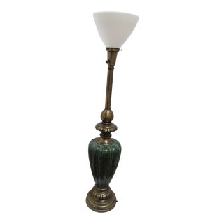 Rembrandt Emerald Green Tall Lamp With Glass Shade For Sale