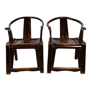 Chinese Antique Yoke Horseshoe Chairs - A Pair