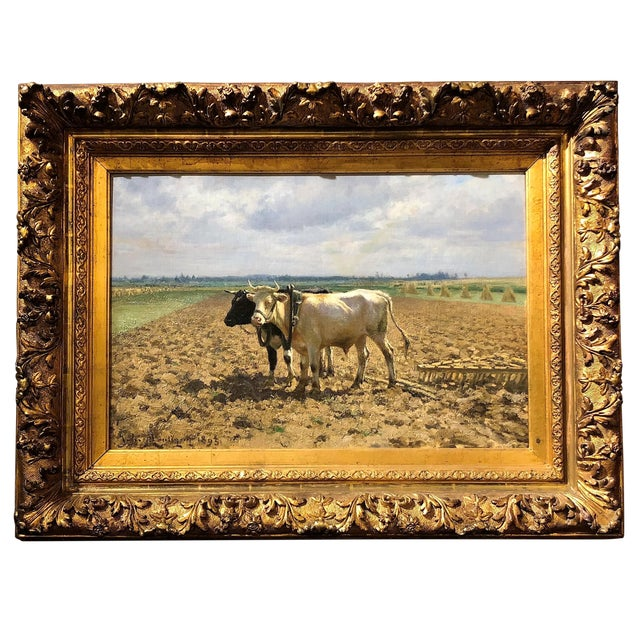 "Antique 19th Century Landscape Oil on Canvas, ""Ploughing the Fields,"" dated 1893 by Belgian Artist Jules Leon Montigny, 1847-1899. For Sale"