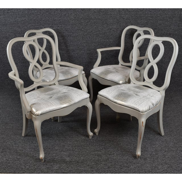 French Country Louis XV Style Dining Chairs- Set of 4 For Sale - Image 4 of 13