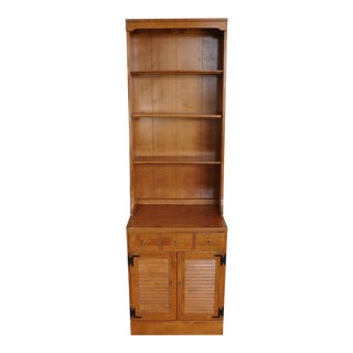 Ethan Allen Maple Room Plan Narrow Louvre Cabinet w/ Hutch Top 1980s