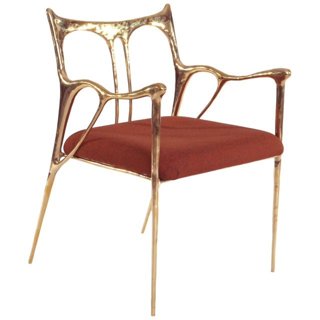 Gold Brass Sculpted Brass Chair, Misaya For Sale - Image 8 of 8