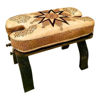Moroccan Leather Cushion Wooden Camel Saddle Stool