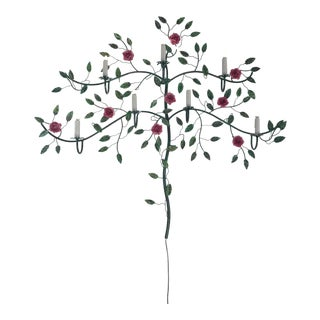Italian Toleware Flower Rose Tree Wall Lamp For Sale