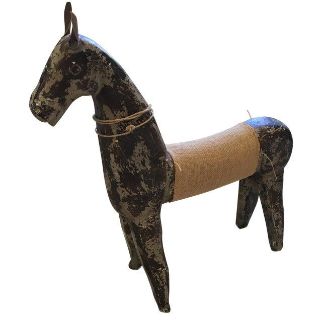 Rustic Wood & Burlap Horse - Image 1 of 7