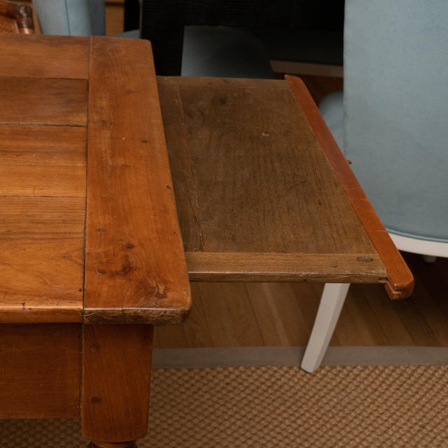 French Provincial French Provincial Cherrywood Farm Table For Sale - Image 3 of 11