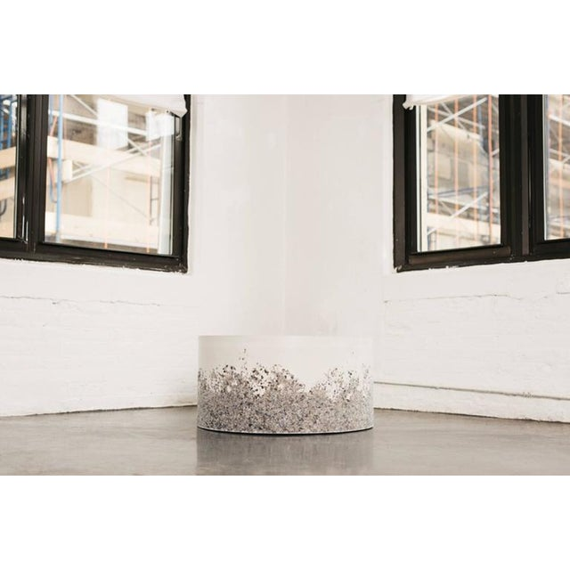 Contemporary Hand Made Grey Agate and White Plaster Drum, Side Table by Samuel Amoia For Sale - Image 3 of 7