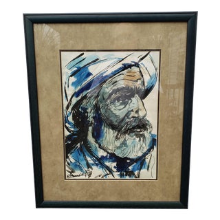 Tribal Leader Man in Turban Watercolor Painting in Blues and Grays For Sale