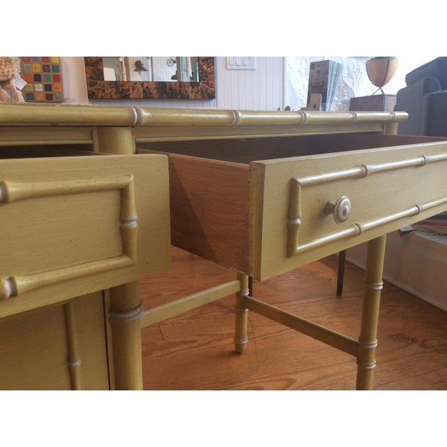 Thomasville Vintage Faux Bamboo Desk For Sale - Image 9 of 9