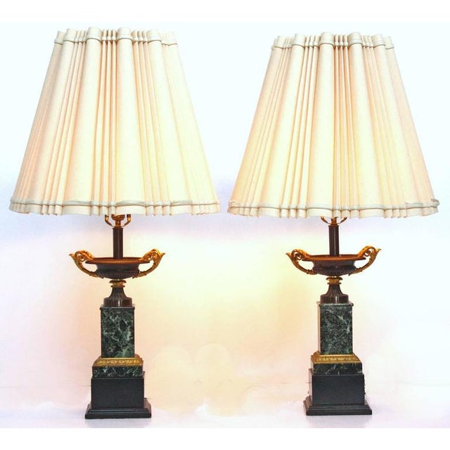 Mid 19th Century Mid 19th Century Pair of Grand Tour Bronze and Marble Tazas as Lamps For Sale - Image 5 of 5