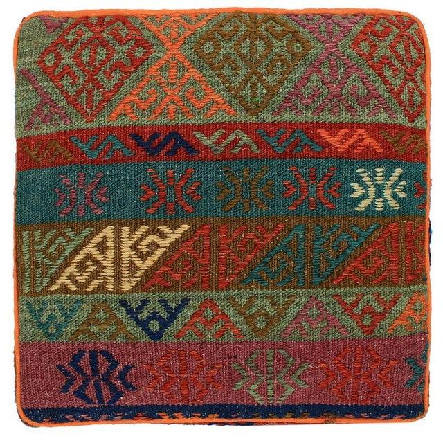 Boho Chic Hahn Orange/Green Handmade Soumakh Upholstered Ottoman For Sale - Image 4 of 8
