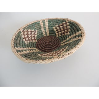 Small Tribal Woven Basket in Natural, Green and Brown Preview