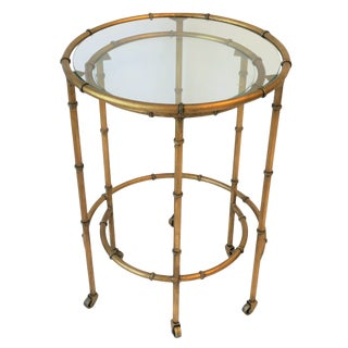 Round Gold Gilt Nesting Tables or Side Tables For Sale