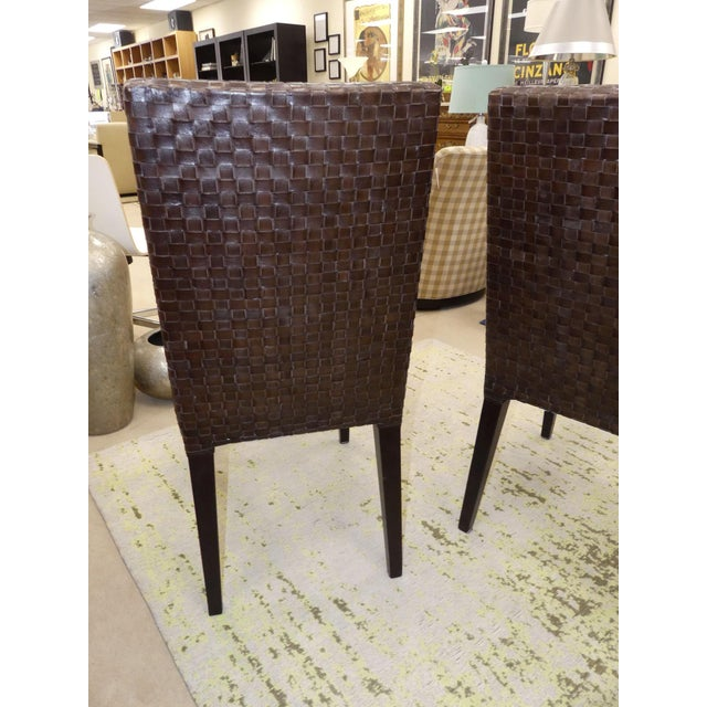 Stone International Modern Italian Woven Leather Dining Chairs- Set of 4 For Sale - Image 10 of 13