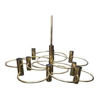 1960s Italian Mid-Century Modern Gaetano Sciolari Brass Italian Chandelier For Sale