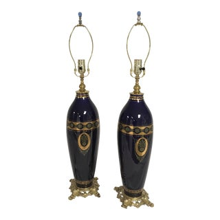 Cobalt Blue and Gold Tall Table Lamps - A Pair For Sale