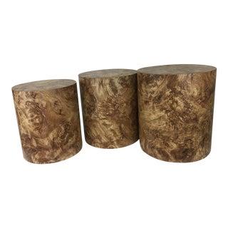 Vintage Milo Baughman Style Burled Wood Laminate Nesting Tables Drum Tables - Set of 3