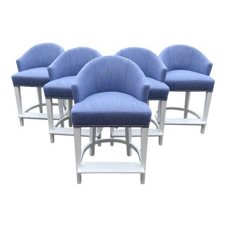 Lee Industries Counter Stools With Perennials Performance Fabric For Sale