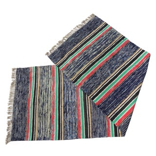 Swedish Hand Woven Rag Rug - 2′7″ × 7′6″ For Sale
