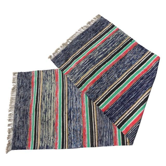 Swedish Hand Woven Rag Rug - 2′7″ × 7′6″ For Sale