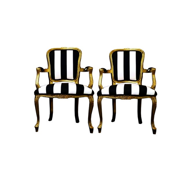 Vintage Louis XV Style Gold Black and White Stripe Chairs - a Pair For Sale In Miami - Image 6 of 7