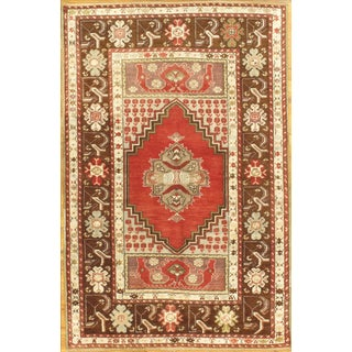 Hand-Knotted Oushak Rug - 4′ × 6′