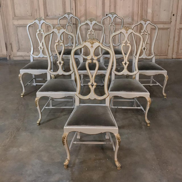 Eight 19th CenturyPainted and Gilded Italian Dining Chairs- Set of 8 For Sale - Image 13 of 13