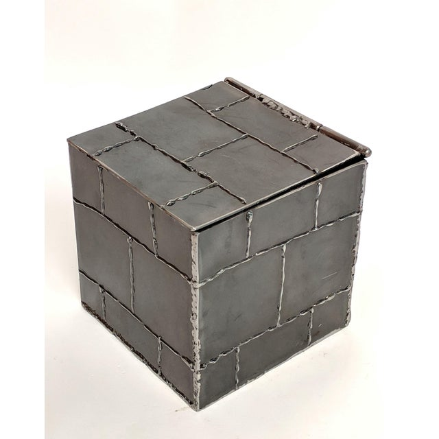 Brutalist Metal Box Hand Welded Box For Sale - Image 4 of 12