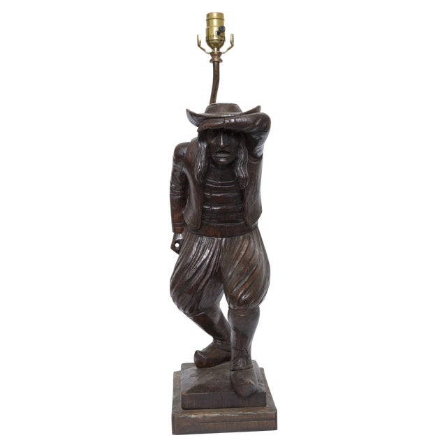 Wood Carving of a Man - Lamp - Image 1 of 6