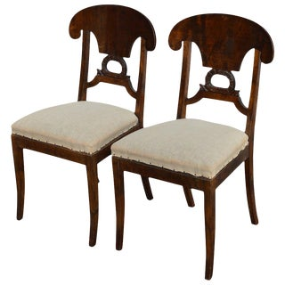 Pair of Swedish Karl Johan Biedermeier Revival Side Chairs For Sale