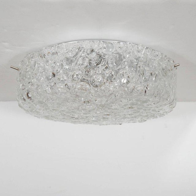 Italian Mid-Century Modernist Textured Murano Glass Flush Mount with Nickel Fittings For Sale - Image 3 of 6