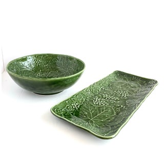 Majolica Green Leaf Salad Bowl and Rectangular Platter by Olfaire Preview
