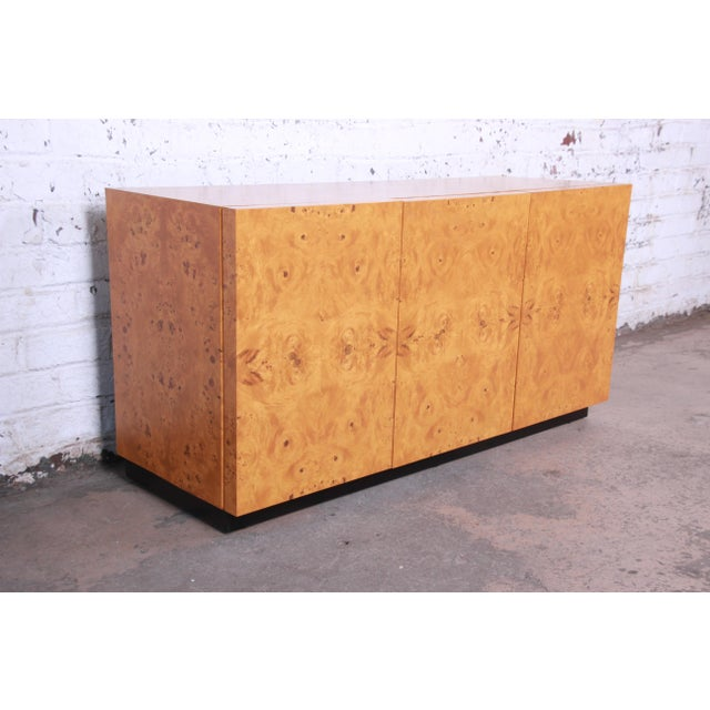 Milo Baughman Milo Baughman Burled Olive Wood Sideboard Credenza, Newly Refinished For Sale - Image 4 of 11