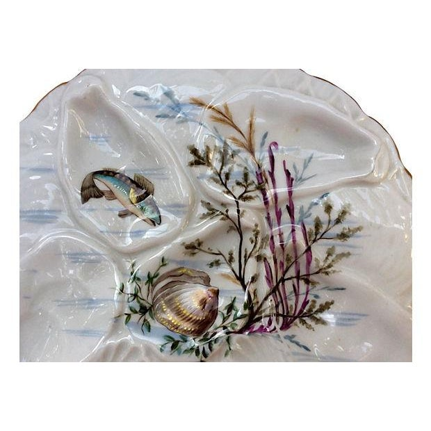 Hand-Painted French Oyster Plate - Image 2 of 8