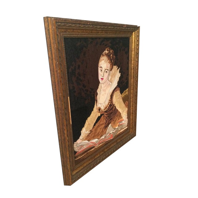 Vintage Needle Point Framed Art of Reading Lady - Image 5 of 5