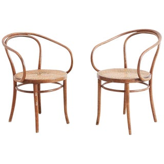 Pair of Thonet Bentwood B-9 Cane Armchairs For Sale