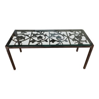 19th Century French Iron and Glass Coffee or Accent Table For Sale