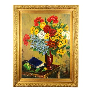 Flowers & Poetry Book Still Life Painting For Sale