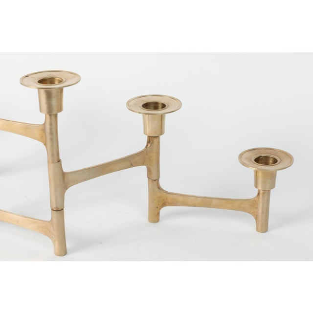 Mid 20th Century Danish Mid-Century Modern Brass Articulating Candleholder Nagel Style For Sale - Image 5 of 8