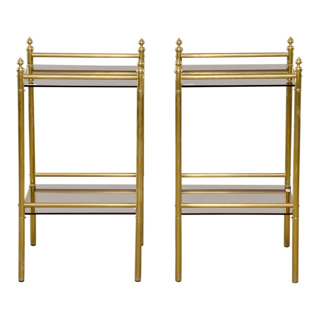 Pair of Mid-Century Brass and Glass Side Tables For Sale