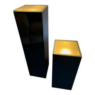 Pair of Lacquered Column Lamp by Guy Lefevre. France, 1970s For Sale