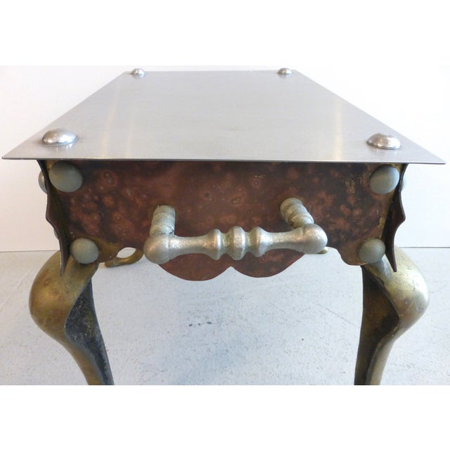 Brass, Iron & Steel Side Table For Sale - Image 5 of 6