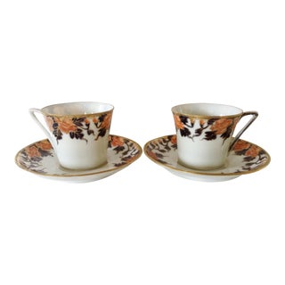 English Egg Shell Cups & Saucers - A Pair For Sale