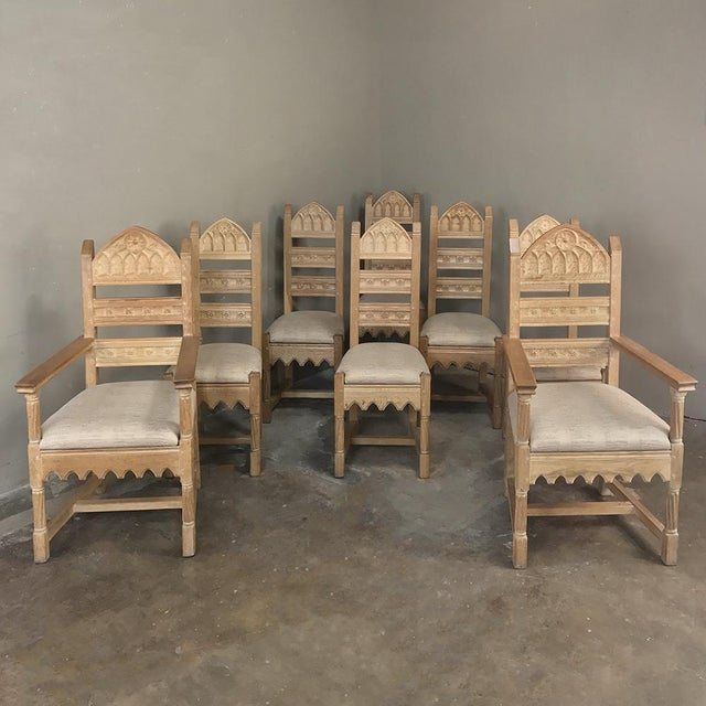 Set of 8 Antique Gothic Dining Chairs Includes 2 Armchairs For Sale - Image 13 of 13