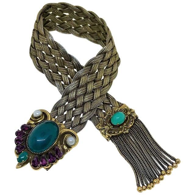 1940s Victorian Revival Goldtone Jeweled Tassel Bracelet For Sale - Image 9 of 9