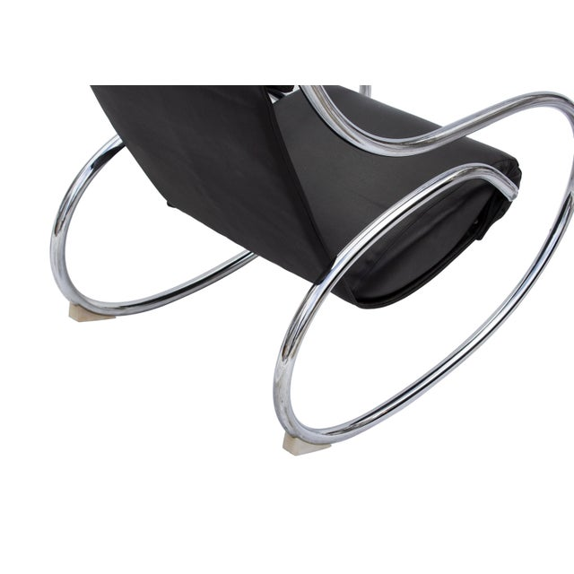 Metal Sculptural Rocking Chair in Tubular Chrome For Sale - Image 7 of 11