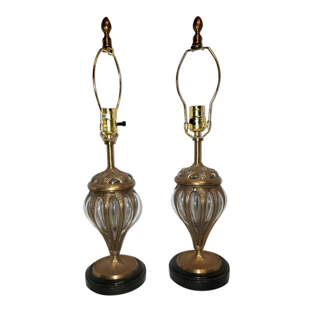 Murano & Brass Bubble Cage Art Glass Italian Table Lamps - a Pair For Sale