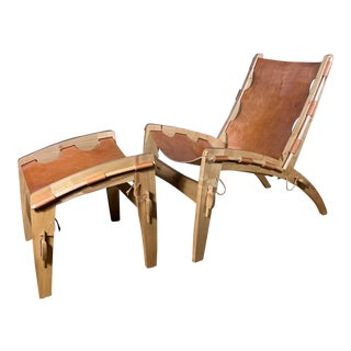 Dan Burstyn Quilpo Leather Sling Chair & Ottoman For Sale